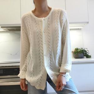 Oversize crochet knit light sweater cardigan